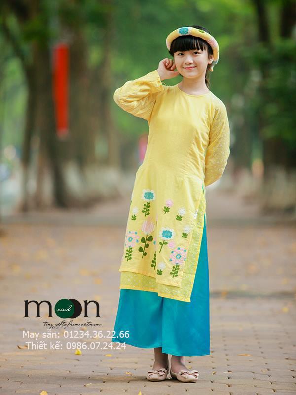 áo dài trẻ em họa tiết hoa cải