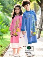 Áo dài thô cotton cho bé yêu mùa thu ở Moon Xinh