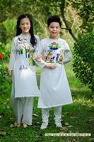 Cung chúc tân xuân với áo dài cho bé của Moon Xinh