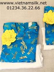 Áo dài gấm Thượng Hải cho bé gái hoạ tiết chuồn chuồn xanh ngọc