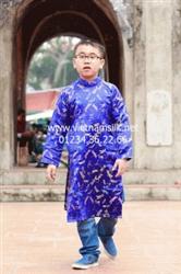 Áo dài cho bé trai-Họa tiết chuồn chuồn xanh dương (Mã:CXDT)