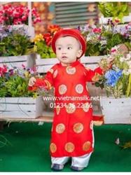 Áo dài bé trai gấm Thái Tuấn màu đỏ AT32