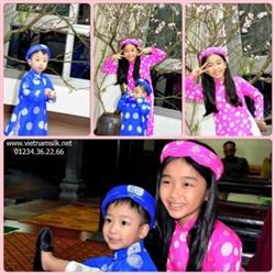 Áo dài gấm Thái Tuấn bé gái màu hồng xu GTT3