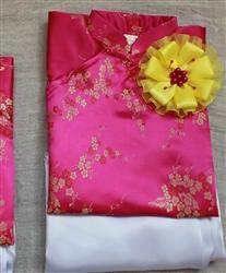 Áo dài cho bé gái-Hoa mai vàng nền hồng sen (HD2)