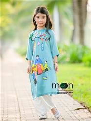 Áo dài vẽ cho bé gái MX.184