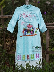 Áo dài truyền thống vẽ tay cho bé gái và mẹ MX.136