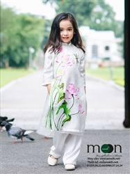 Áo dài trẻ em vẽ hoa sen và chuồn chuồn cho bé gái MX.110
