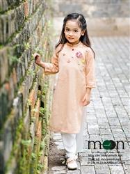 Áo dài trẻ em ren thiết kế bé gái MX.112(màu hồng da đính hoa)