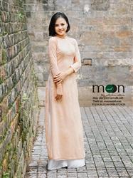 Áo dài ren thiết kế cho mẹ MX.122 (màu hồng da đính hoa)