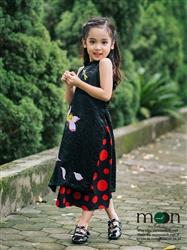 Áo dài vẽ cho bé gái MX.109 (Màu đen họa tiết hoa sen và chuồn chuồn)