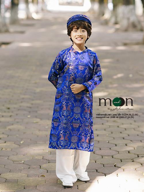 Áo dài trẻ em gấm Thượng Hải cho bé trai xanh dương