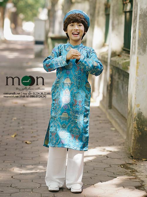 Áo dài trẻ em gấm Thượng Hải cho bé trai xanh ngọc