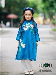 Áo dài trẻ em vẽ tay cho bé gái MX.118 (màu xanh ngọc họa tiết hoa sen)
