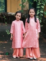 Áo dài cho bé gái MX.114 (hồng phấn họa tiết chuồn chuồn)