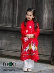 Áo dài vẽ cho bé gái MX.111 ( màu đỏ vẽ họa tiết cò và hoa sen)