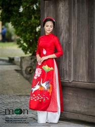 Áo dài cho mẹ MX.121 ( màu đỏ vẽ họa tiết cò và hoa sen)