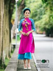 Áo dài cho mẹ MX.127 ( màu hồng vẽ họa tiết cành hoa cúc)