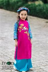 Áo dài vẽ cho bé gái MX.117 ( màu hồng vẽ họa tiết cành hoa cúc)