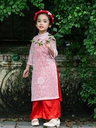 Áo dài trẻ em ren thiết kế bé gái MX.113 (màu hồng phấn)