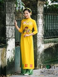 Áo dài cho mẹ MX.125 (màu vàng vẽ hoa đào)