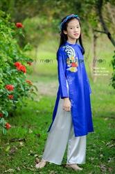 Áo dài vẽ bé gái Chim phượng hoàng xanh MX.209