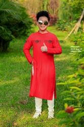 Áo dài đỏ trơn bé trai MX.212