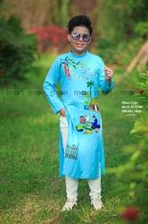 Áo dài vẽ bé trai Không gian tết xưa xanh ngọc MX.215