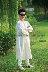 Áo dài trắng trơn bé trai MX.217
