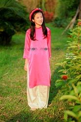 Áo dài lụa hồng cho bé gái MX.222