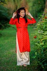 Áo dài lụa đỏ cho bé gái MX.221
