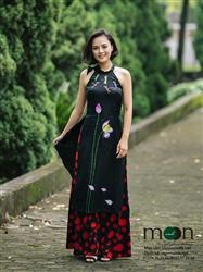 Áo dài cho mẹ MX.119 (Màu đen họa tiết hoa sen và chuồn chuồn)