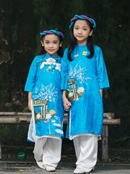 Áo dài trẻ em vẽ họa tiết cửa hàng hoa cho bé gái MX.116