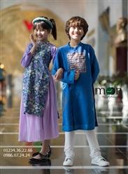 Áo dài cách tân trẻ em - Thô xanh Hàn Quốc vẽ chữ Phúc Thọ may mắn