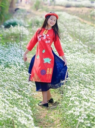 Áo dài cách tân cho bé gái MX 107- Thô đỏ vẽ hoa sen cổ điển