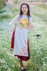 Áo dài cách tân cho bé gái MX 108 - Lụa trắng vẽ gà