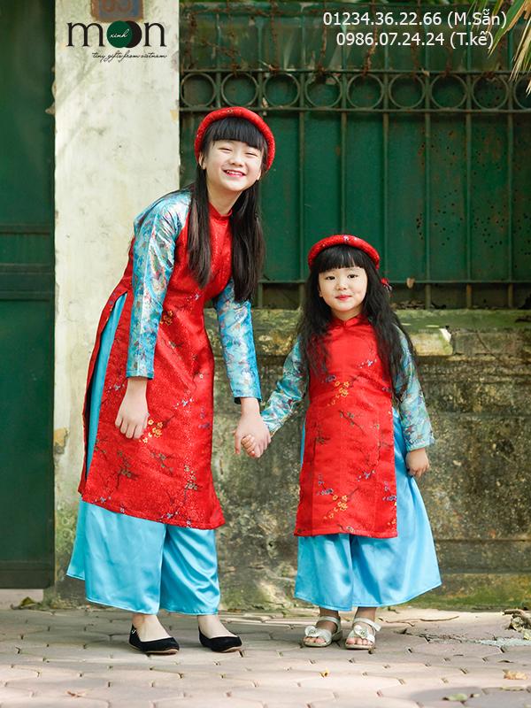 Áo dài cho bé gái màu đỏ Tấm Cám gấm Thượng Hải