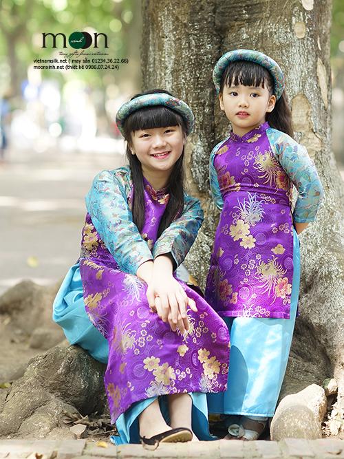 Áo dài cách tân trẻ em Tấm Cám gấm Thượng Hải cho bé gái màu tím