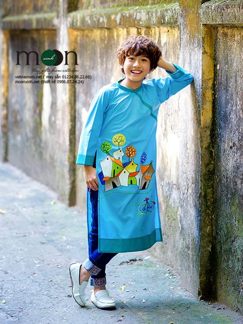 Áo dài trẻ em - Thô Hàn Quốc vẽ phố cổ