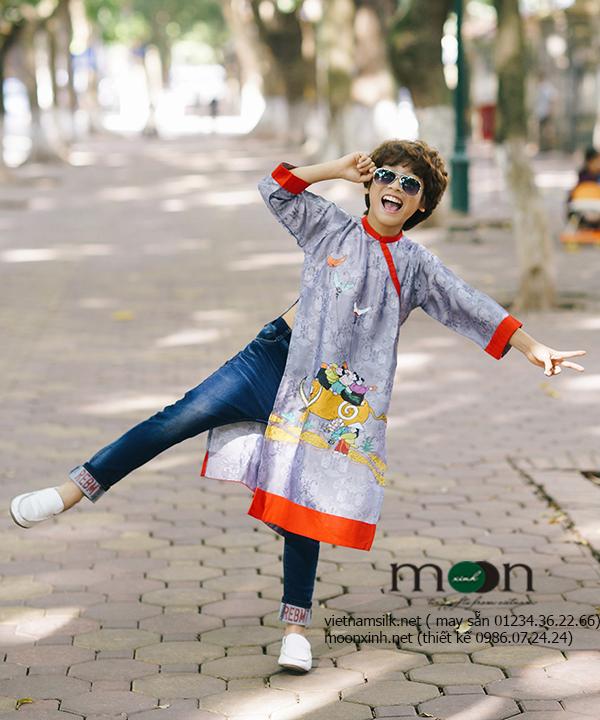 Áo dài trẻ em - Lụa tơ tằm vẽ cảnh chăn trâu thả diều