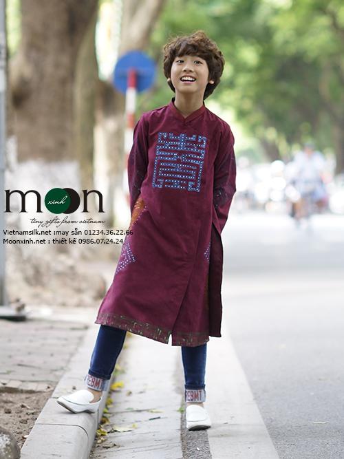 Áo dài trẻ em vẽ tay cho bé trai MX 78