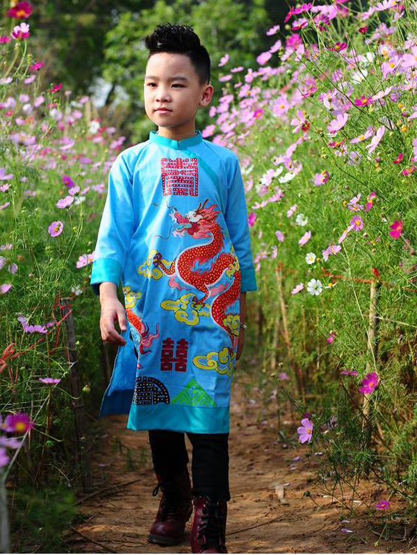 Áo dài trẻ em - Thô cotton vẽ rồng đỏ