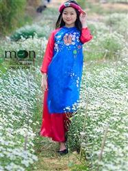 Áo dài cách tân cho bé gái MX 102 - Lụa tơ tằm xanh vẽ hoa đào tết