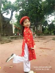 Áo dài khăn đóng cho bé gái gấm Thái Tuấn (GTT2)