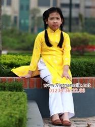 Áo dài bé gái gấm Thái Tuấn - GTT.7- Màu vàng lá