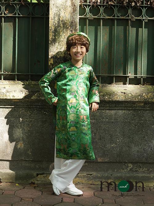 Áo dài gấm Thượng Hải cho bé trai xanh lá